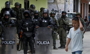 Colombian riot policemen and soldiers