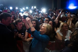 Hillary Clinton takes a selfie.
