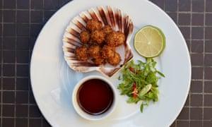 A plate of queenie scallops