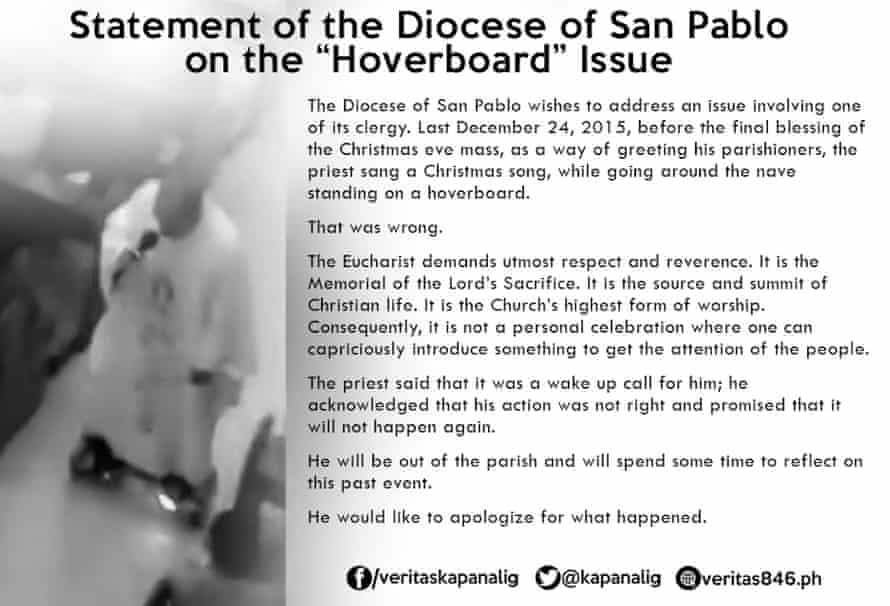 A statement posted to Facebook by the Diocese of San Pablo, Laguna, Philippines, after one of its priests greeted parishioners while riding a hoverboard.