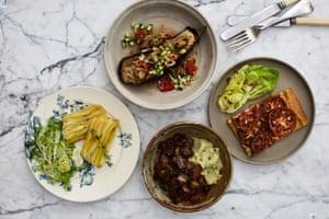 Beetroot terrine 'comme un dauphinois', aubergine à l'échalote, tarte moutarde-tomate and vegan bourguignon