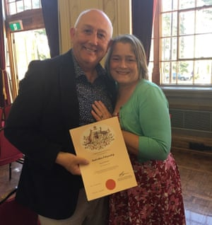 Mark and Sarah Stewart in October 2019, after Mark's citizenship ceremony.