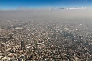 Smog above the urban sprawl of Mexico City.