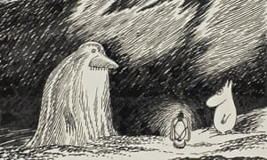 The Groke confronts a Moomin... an exhibition of the surreal Finnish creatures arrives at London's Southbank Centre.