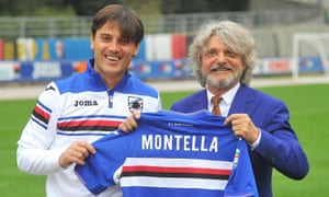 Vincenzo Montella, poses with Sampdoria's owner, Massimo Ferrero, after his recent return to the club as manager.