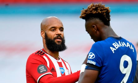 David McGoldrick (left) with Chelsea's Tammy Abraham after Sheffield United's 3-0 win at Bramall Lane.