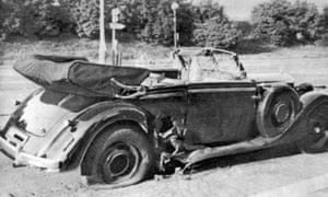 The car damaged in the 1942 attack that led to the death of Reinhard Heydrich