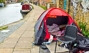 A homeless person's tent on the banks of the Regent's Canal in London.