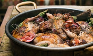 Roast quail with pine kernels and figs.