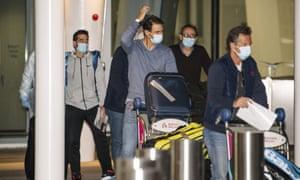 Spain's Rafael Nadal arrives at Adelaide airport on Saturday.