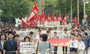 Demonstrators march in Shanghai, 19 May 1989.
