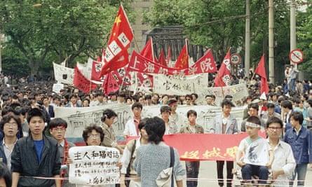 Demonstrators march in Shanghai, 19 May 1989.