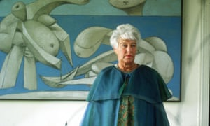 The American art collector Peggy Guggenheim in 1968 standing in front of a Picasso painting 'On The Beach' at the Peggy Guggenheim museum in Venice.