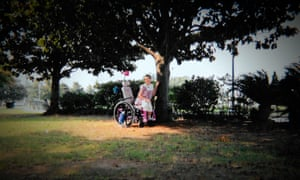 Gypsy in her wheelchair as a child