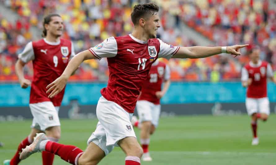 Christoph Baumgartner celebrates after putting Austria ahead