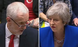 Jeremy Corbyn and Theresa May at PMQs.