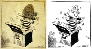 The archive holds original artwork by many Guardian and Observer illustrators and cartoonists. This material can reveal the artists' working processes – and sometimes the odd last-minute revision. This cartoon was drawn by Les Gibbard for the 1970 general election. The image on the left, which shows an illuminated view of the original artwork, gives a glimpse of Harold Wilson's face behind that of his unexpectedly successful opponent, Edward Heath. The image on the right shows the cartoon as it appeared on the front page of the next day's paper.(Archive ref. LDG/1/2)
