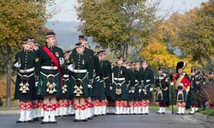 The Argyll and Sutherland Highlanders Regiment march during the funeral procession of Cpl. Nathan Cirillo in Hamilton, Ontario