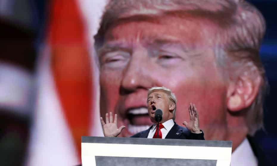 """Republican presidential candidate Donald Trump, speaks during the final day of the Republican National Convention in Cleveland. Trump has described himself as a """"very superstitious person"""", which doesn't seem to have hurt him."""