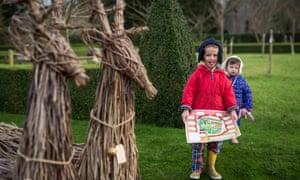 Children at Hinton Ampner, Hampshire.