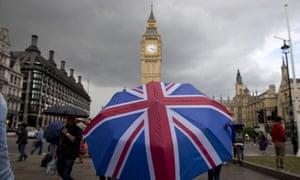 Union jack umbrella in front of Big Ben