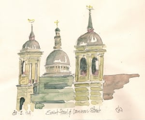 St Paul and Cannon StreetI love London; hundreds of pages of it in my sketchbooks....a viev catches my eye, sometimes an amusing juxtaposition as with these two ecclesiastical gents. One highly clerical the other very secular or capitalist bringing workers to the City daily