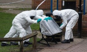 Army officers remove the bench at the centre of the novichok poisoning incident in Salisbury in March 2018.