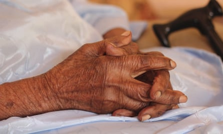 The world's oldest person Violet Brown clasps her hands at her home in Duanvale, Jamaica on 16 April 2017.