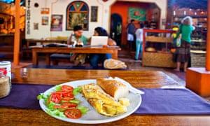 Salad, cheese and bread plate at Baba au Rhum, Anjuna, Goa