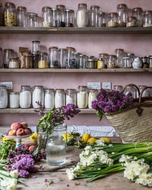 The Venice-based food blogger Skye McAlpine has an entire shelf for flour. A table for fruit and floristry. And that pink wall. @skyemcalpine