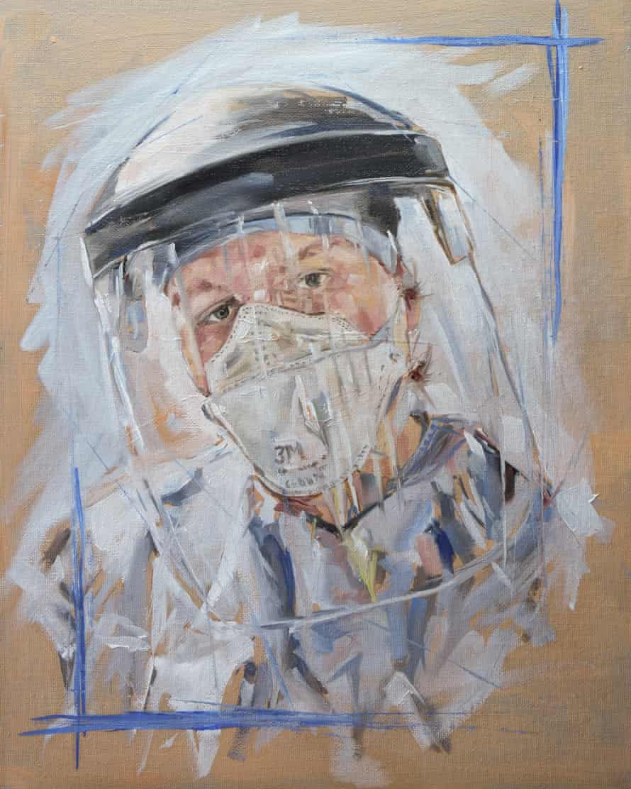 An oil painting of an NHS worker in full protective gear by Barry Miller.