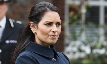 Priti Patel on a visit to Sussex police headquarters earlier this week.