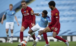 Manchester City and Liverpool, two of the Premier League's big six clubs, in action in the Premier League in July.