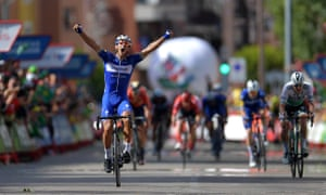 Philippe Gilbert celebrates crossing the line in Guadalajara to win stage 17 of the Vuelta a España