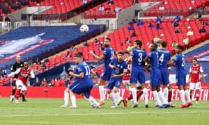 Alexandre Lacazette of Arsenal takes a free kick.