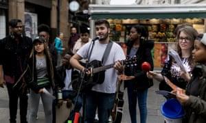 Soundskool students busking in central London.
