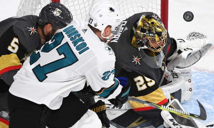Goaltender Marc-Andre Fleury makes a save against San Jose Sharks.