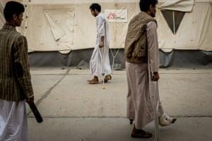 Injured people in Sa'ada's al-Jumhori hospital