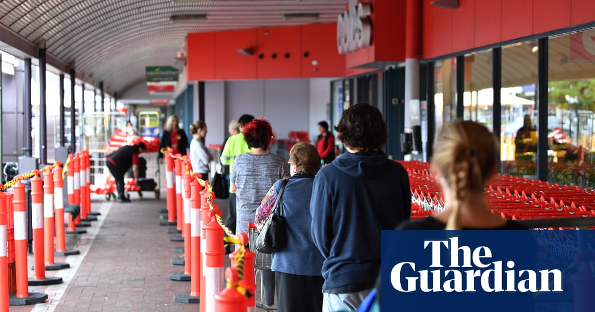 Long queues as Australian supermarkets limit customers to avoid overcrowding in lead up to ...