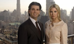 Donald Trump Jr and his sister Ivanka Trump on the penthouse terrace of the Trump Park Avenue building in New York on 11 April 2006.