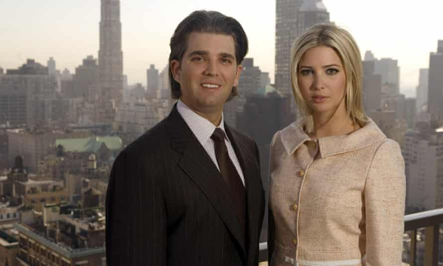 Donald Trump Jr. and Ivanka Trump pose for a photo on the penthouse terrace of the Trump Park Avenue building in New York over 12 years ago