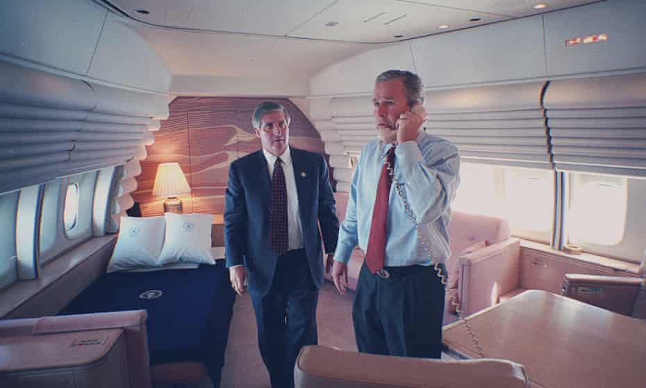 'Extraordinary level of access': President George W Bush in his bedroom on Air Force 1 on 9/11 with chief of staff Andy Card.