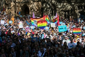 The rally began at Sydney town hall at 1pm, with crowds going around the block.