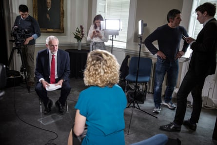 Newman interviews Jeremy Corbyn at Chatham House last year, after he made a speech on foreign policy