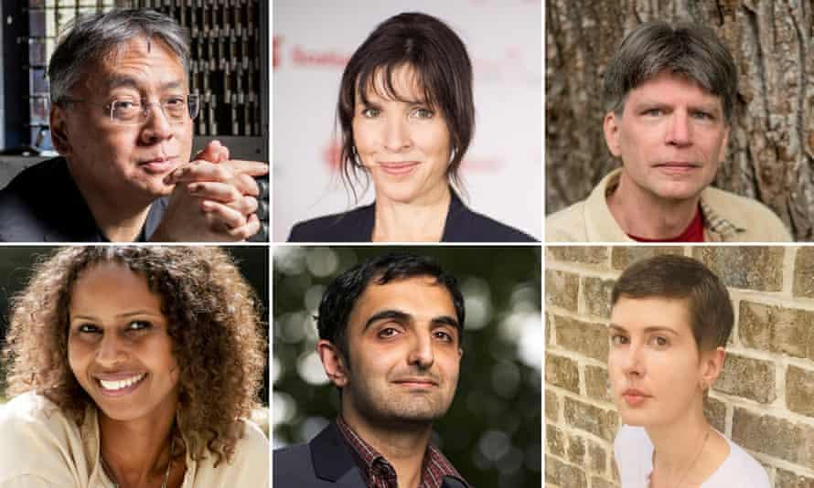 Booker prize longlistees (from left clockwise: Kazuo Ishiguro, Rachel Cusk, Richard Powers, Patricia Lockwood, Sunjeev Sahota and Nadifa Mohamed.