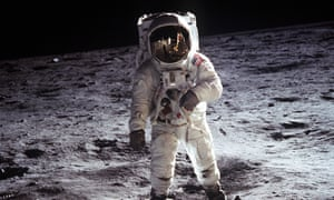 Buzz Aldrin walks on the moon on 20 July 1969