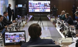 The G20's video conference meeting in Brasilia on 26 March 26.