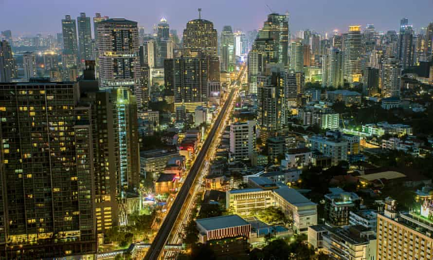 Bangkok's Sukhumvit Road at night. The area around it sees the largest concentration of the city's Japanese population.