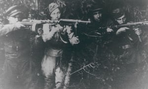 A group of Jewish partisan fighters in Soviet territory in about 1942-44.
