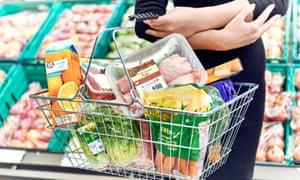 A basket of supermarket items